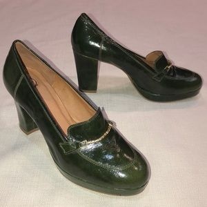Anthropologie Lucky Penny Block Heel Loafers Green